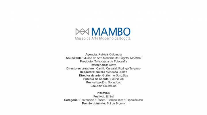 Temporada de Fotografía (Clave) – Museo de Arte Moderno de Bogotá, MAMBO